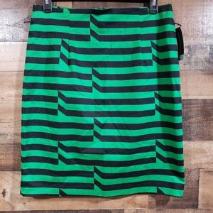 Worthington NWT green & black striped A-line skirt